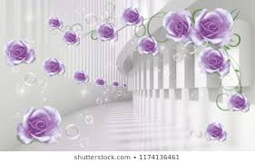 Wallpaper flower Iphone Modern Ideas In The Design Of Any Interior Photo Wallpapers 3d Model Lilac Roses In Shutterstock Wallpaper Flower 3d Images Stock Photos Vectors Shutterstock