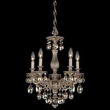 milano 5 light mini chandelier finish antique silver crystal color strass silver shade