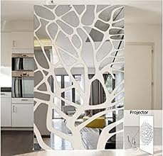 Mirror Projection Wall Stickers Mosaic Geometric Decoration Mirror Stickers  (Silver)