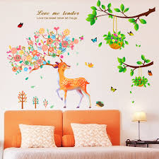 chinese style wall stickers removable adhesive klimts chinese style bedroom living room entrance wall decor leafy
