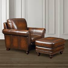Leather Chairs Living Room Old World Chair Hamilton Brown Leather Bassett Furniture