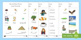 Challenge your young students to read words with many different vowel patterns with this fun worksheet. Long E Sound Worksheets Rise And Shine Phonics Twinkl Ela