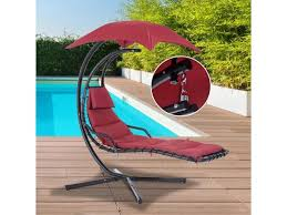 outsunny swing chair outdoor hanging hammock chaise lounge with stand and canopy wine red