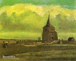 the old cemetery tower in nuenen with plowing farmers