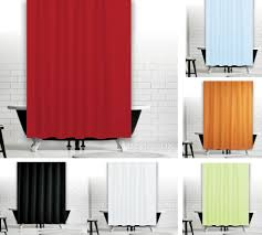 selection of red green sky blue black orange and plain white extra long shower curtain