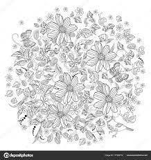 丸い飾り 花の渦巻きと塗り絵のための花 ストックベクター Oksana