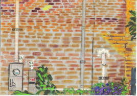brick wall with a touch of purple soft pastel on 6 25 by 9 5 gray velour board