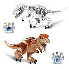 leoie juric world dinosaurs toys model puzzle embling blocks for kids educational gifts 1pcs random