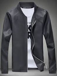 half latest fashion for mens faux leather jacket with elastic cuff black black grey brown khaki
