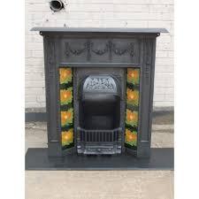 111 original antique cast iron edwardian victorian fireplace with tiles