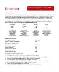 Best Bartender Resume Sample Awesome Design Ideas Bartenders Resume