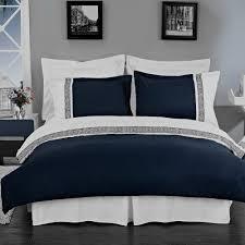 com hotel style greek key navy blue and white microfiber duvet cover set
