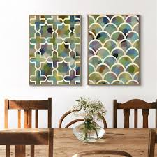 haochu watercolor background geometric wall painting canvas modern fish scale cross shape art poster for living