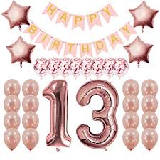 Amazoncom Rose Gold 13th Birthday Decorations Party Supplies 13th
