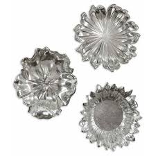 Black Iron Wall Decor Silver Flowers Metal Wall Art Set Of Three Uttermost Wall