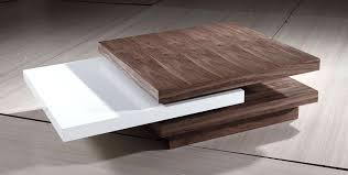 rotating coffee table triplo in white and grey high gloss modern wood