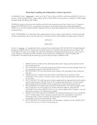 Marketing Consulting And Independent Contract Agreement