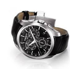 tissot couturier quartz chronograph t0356171605100 image watch tissot couturier quartz chronograph watch black dial and black leather strap ‹ ›