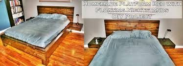 Platform bed with floating nightstands Queen Homemade Platform Bed With Floating Nightstands The Homestead Survival Homemade Platform Bed With Floating Nightstands The Homestead Survival