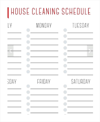 Weekly Cleaning Schedule Template Bunnycamp Info