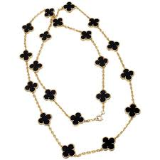 van cleef arpels 20 motif onyx gold vintage alhambra necklace for
