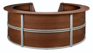 ofm marque series model 55296 5 unit curved reception desk station cherry with silver frame com