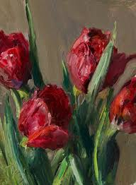 daily painting titled red tulips