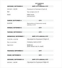 Itinerary Travel Template Itinerary Format Travel Templates Free Sample Planner Template