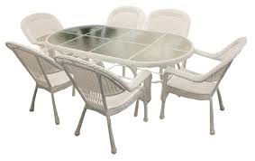 7 piece white resin wicker patio dining set 6 chairs and 1 dining table