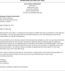 Sample Healthcare Cover Letter Writing A Cover Letter Health Care Sample Cover Letter For