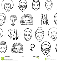 Girl Power Woman Face Feminist Seamless Pattern Stock Vector