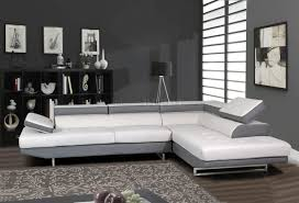 Furniture L Shaped White Leather Sectional Sofa With Black Base - Living room furniture white