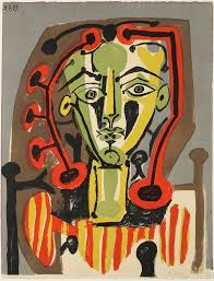 modern art figure with striped blouse pablo picasso