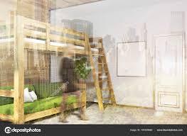 Weiße Schlafzimmer Ecke Grüne Hochbett Plakat Getönt Stockfoto