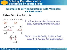 how solve equations with variables both sides visualize how solve equations with variables both sides example