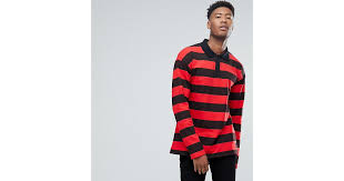 sixth june tall oversized rugby polo shirt in black with red stripes in black for men lyst
