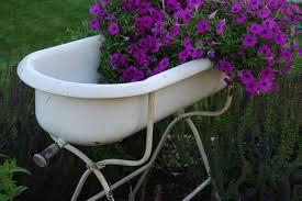 vintage baby tub flowers