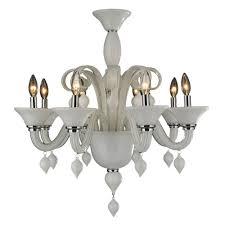 worldwide lighting murano venetian style 8 light white blown glass chandelier