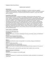 Job Description For Warehouse Worker Resume Retail Worker Resume