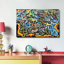 office graffiti wall. Image Is Loading Graffiti-Abstract-Stretched-Canvas-Print-Framed-Wall-Art- Office Graffiti Wall