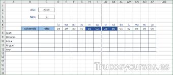 Calendario De Asistencia Estudiantes Y Trabajadores En Excel