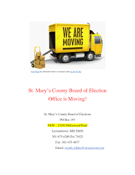 St. Mary's County Board of Election Office is Moving!