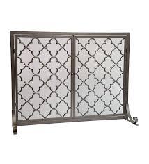 geometric single panel steel fireplace screen