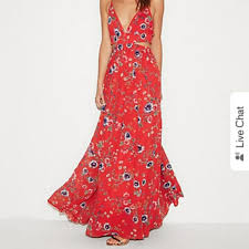 Express Red Floral Pattern Cut Out Maxi Dress Nwot