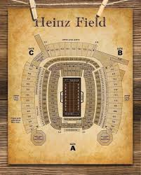 Heinz Field Virtual Seating Chart Heinz Field Football Seating Chart 11x14 Unframed Art Print Great Sports Bar Decor And Gift Under 15 For Football Fans