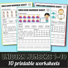 Unicorn Number Count Preschool Worksheets · The Inspiration Edit