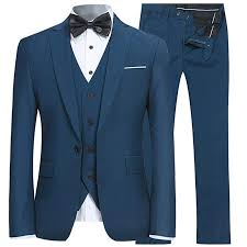 Mens Slim Fit Suit <b>3 Pieces</b> Linen Single Breasted Two Buttons ...