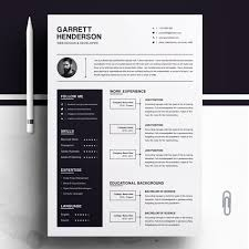 Cover Letter And Resume Templates One Page Resume Template Cover Letter Cv Ms Word