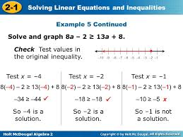 example 5 continued solve and graph 8a 2 13a 8