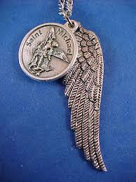 archangel st michael saint medal necklace pendant angel wing protection prayer